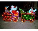 Световая фигура. Дед Мороз и снеговик на паровозе, 62*61см 55*54см